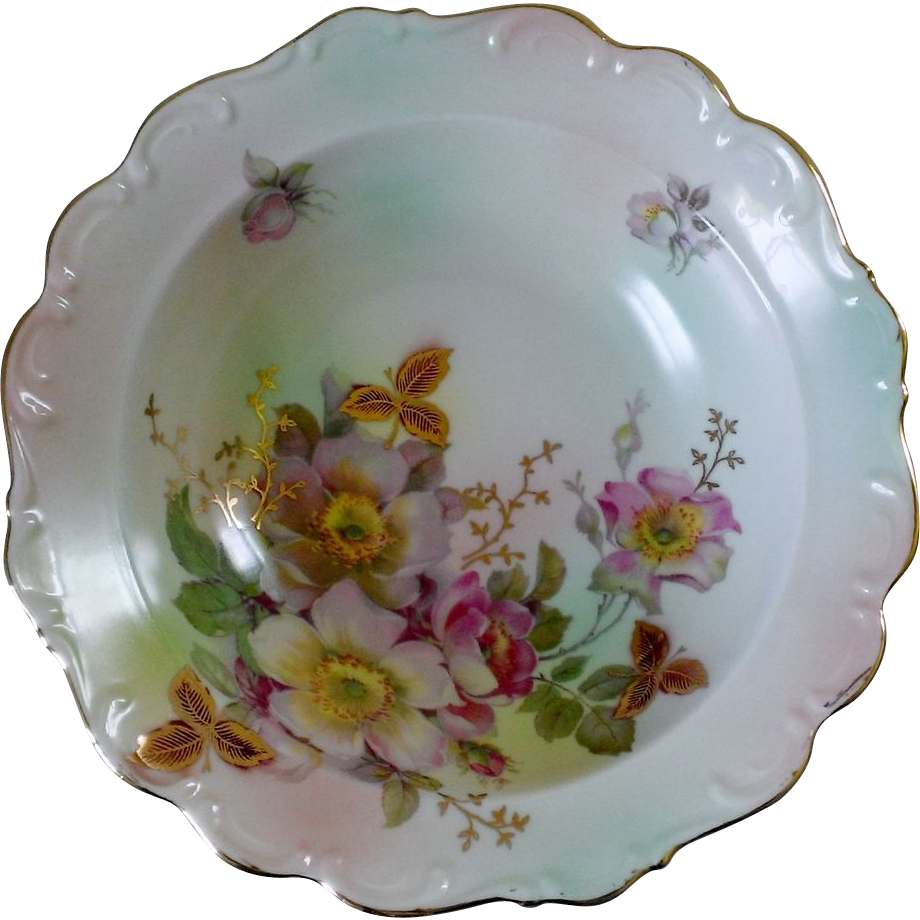 Schumann Arzberg Wild Rose Scalloped Round Vegetable Bowl
