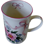 St. George Fine Bone China Peonies & Ribbons Bridal Mug