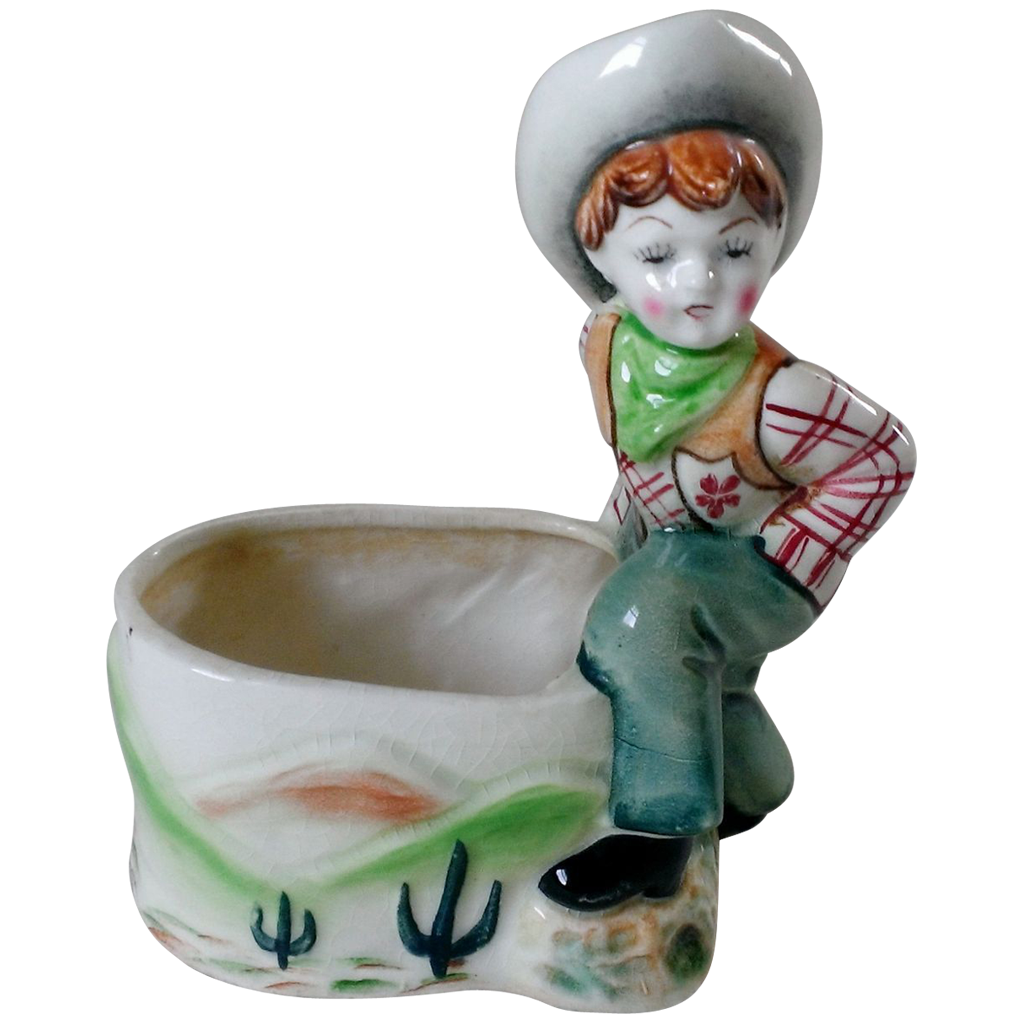 Vintage Cowboy Planter Made in Japan