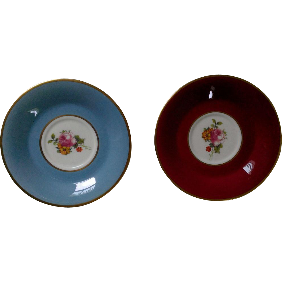 Syracuse Old Ivory Orphaned Saucer Set, Floral Center, Red & Blue Border, Gold Trim