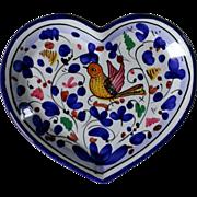 Deruta Sambuco Green Rooster & Arabesco Heart Shaped Trinket Tray