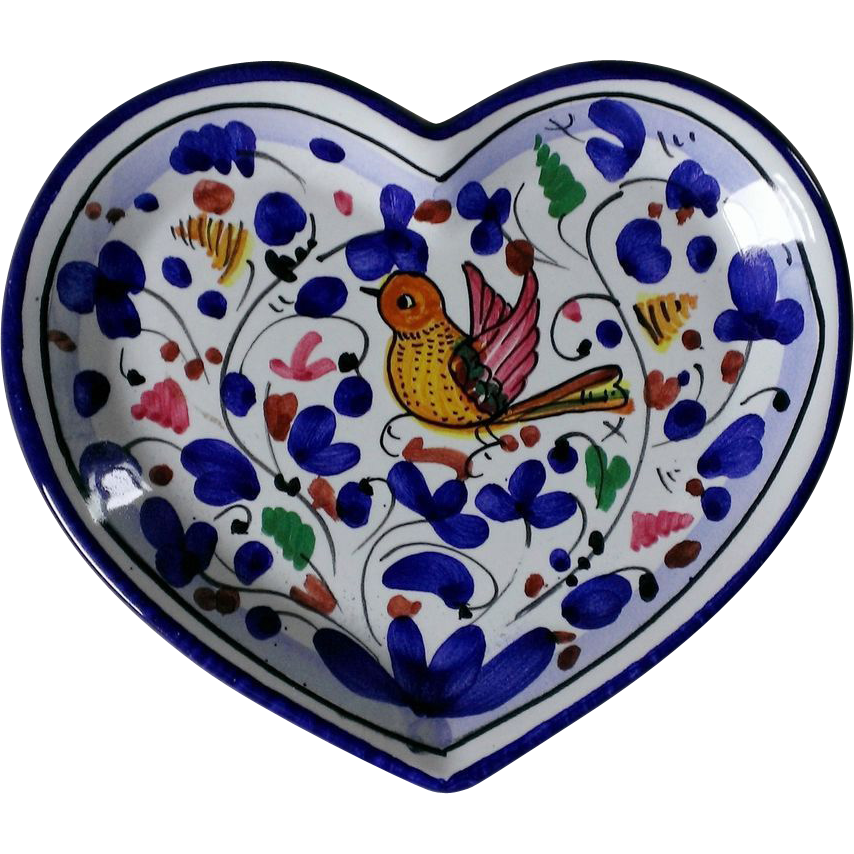Deruta Sambuco Green Rooster & Arabesco Heart Shaped Trinket Tray