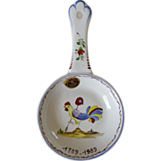 Faïence d'Art Clamecy 100th Anniversary Commemorative Rooster Majolica Nappy / Spoon Holder