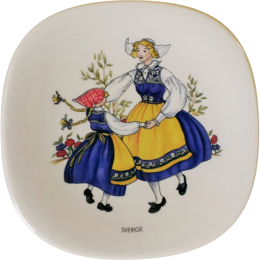 Rorstrand the Swedish National Costumes Commemorative  Plate Sverige
