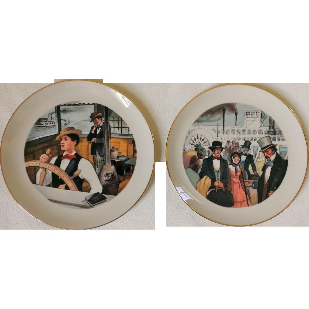 "Mark Twain ""Life on the Mississippi ""  Commemorative Plate Set by Ridgewood China"