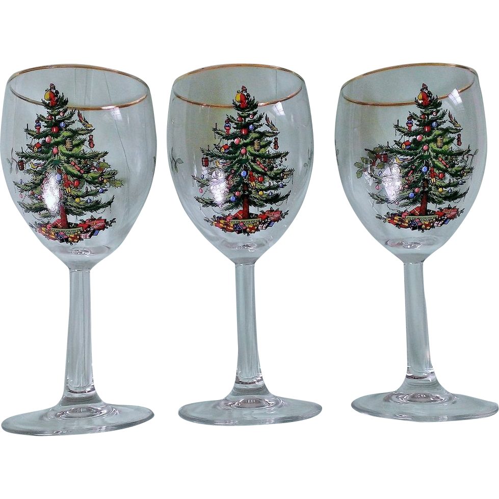 Spode christmas tree wine glass set with gold trim from for Holiday stemware