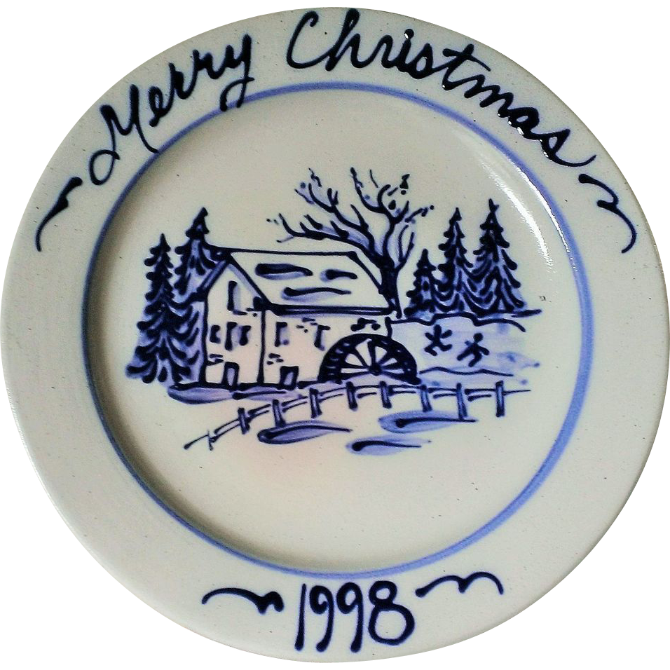 Rowe Pottery Works Merry Christmas Salt Glaze Plate