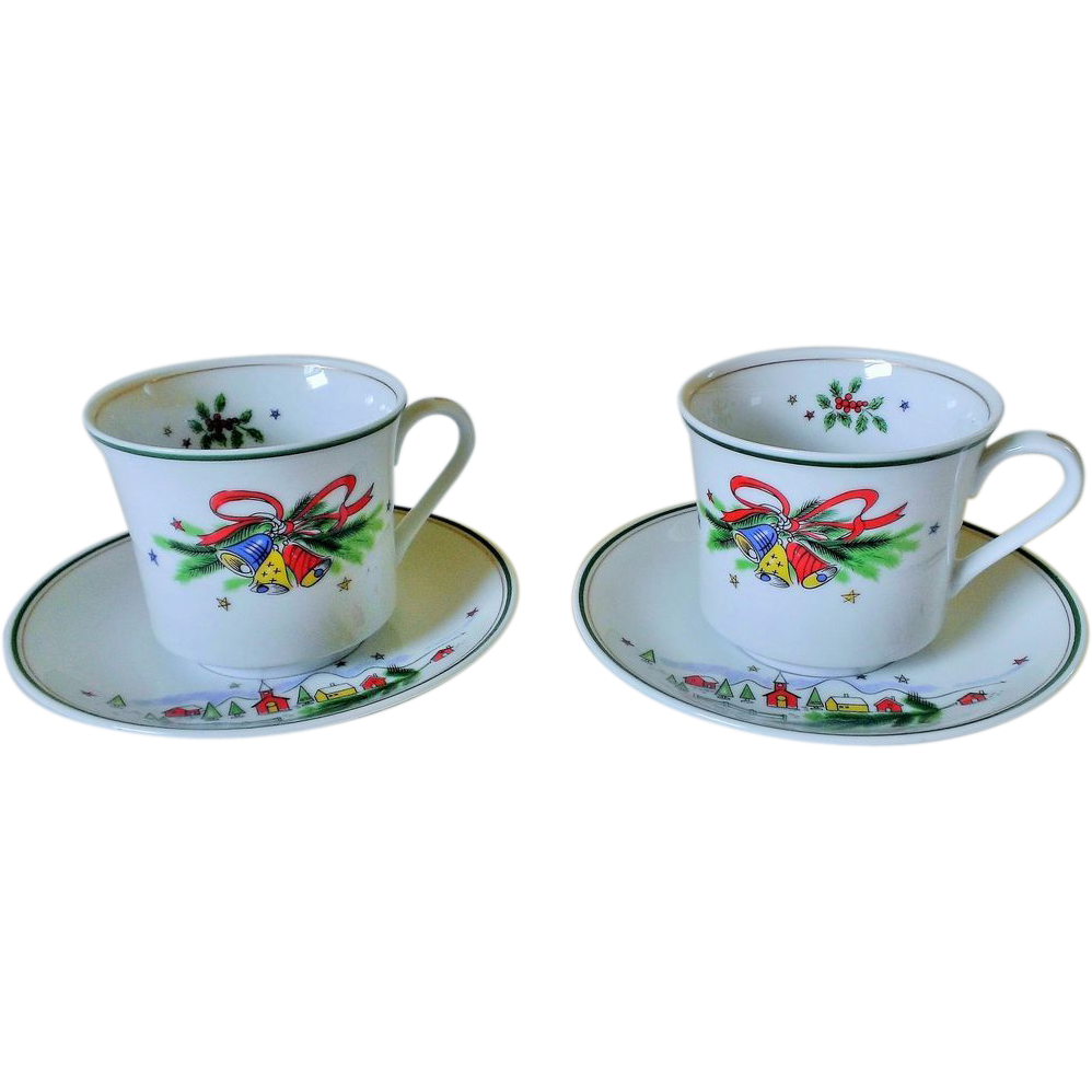 Salem China Christmas Eve Porcelain Cup & Saucer Set of 2