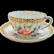 Schmidt & Co. / Victoria Floral Cup & Saucer w Gold Trim