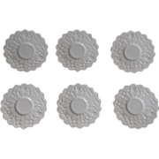 Westmoreland Paneled Grape Milk Glass Saucer Set of 6