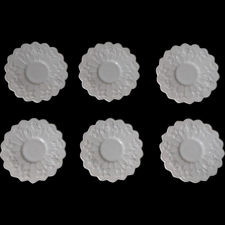 Westmoreland Paneled Grape Milk Glass Saucer Set of 6