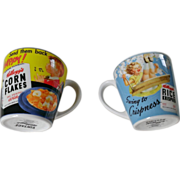 Vintage Kellogg's Kid's 12 oz Mug Set of Two
