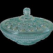 Indiana Glass Windsor Candy Dish & Lid Aqua Color