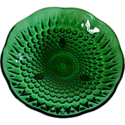 Anchor Hocking Forest Green Teardrop Hobnail Footed Candy Dish