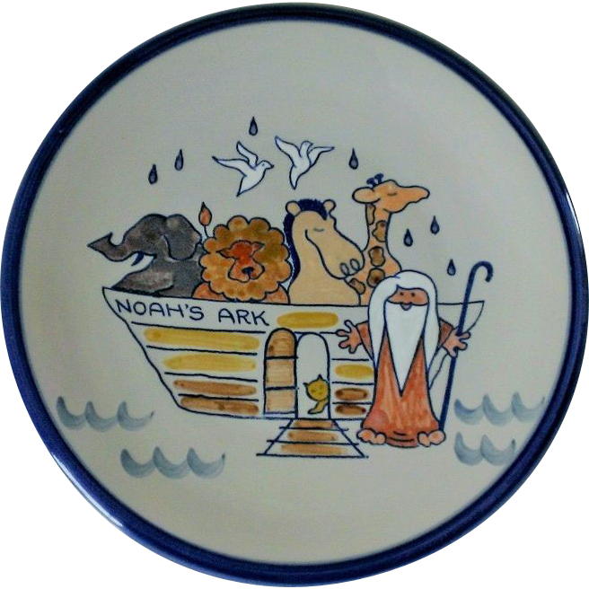 Louisville Stoneware Noah's Ark Decorative Pottery Plate