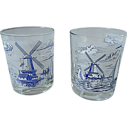 Carlton Glass Dutch Windmill Old-Fashioned / Tumbler Set
