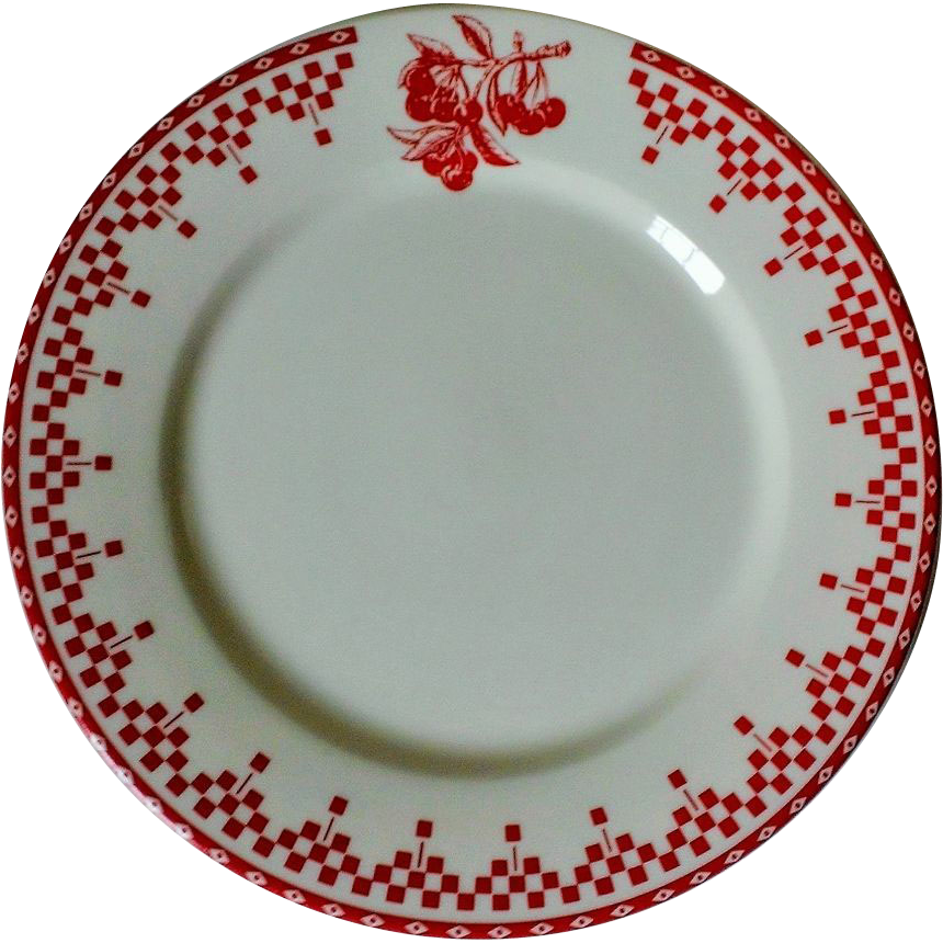 comptoir de famille damier red salad plate from anniesavenue on ruby lane. Black Bedroom Furniture Sets. Home Design Ideas
