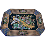 Kutani Cobalt Blue Tray Left Facing Peacock