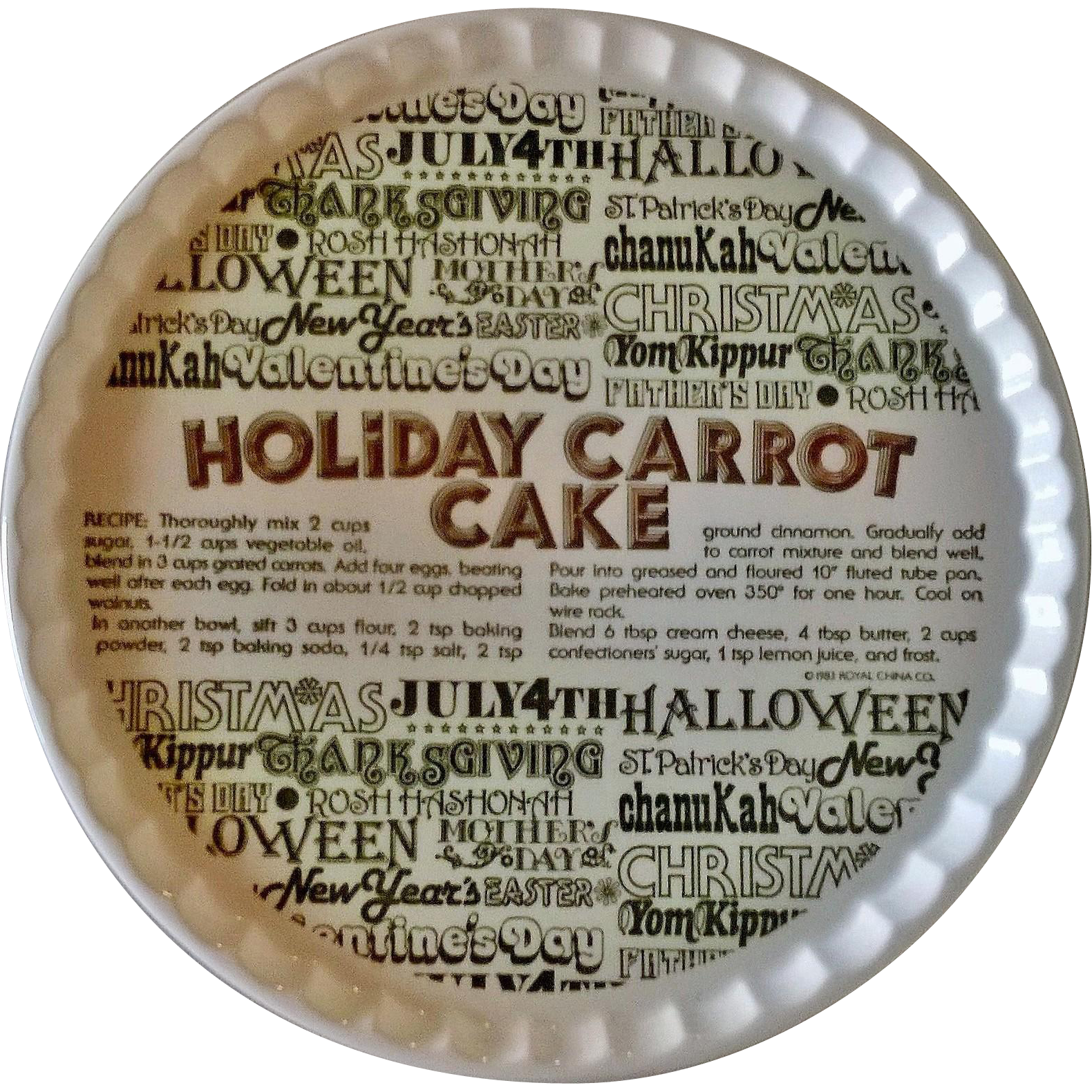 Royal China Holiday Carrot Cake Serving Plate 1983