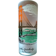 Libbey Souvenir Frosted Highball  Glass Golden Gate Bridge 50's - 60's