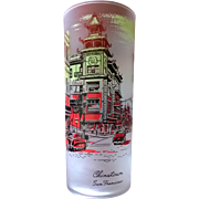 Libbey Chinatown San Francisco California Souvenir Frosted Highball Glass 50's - 60's