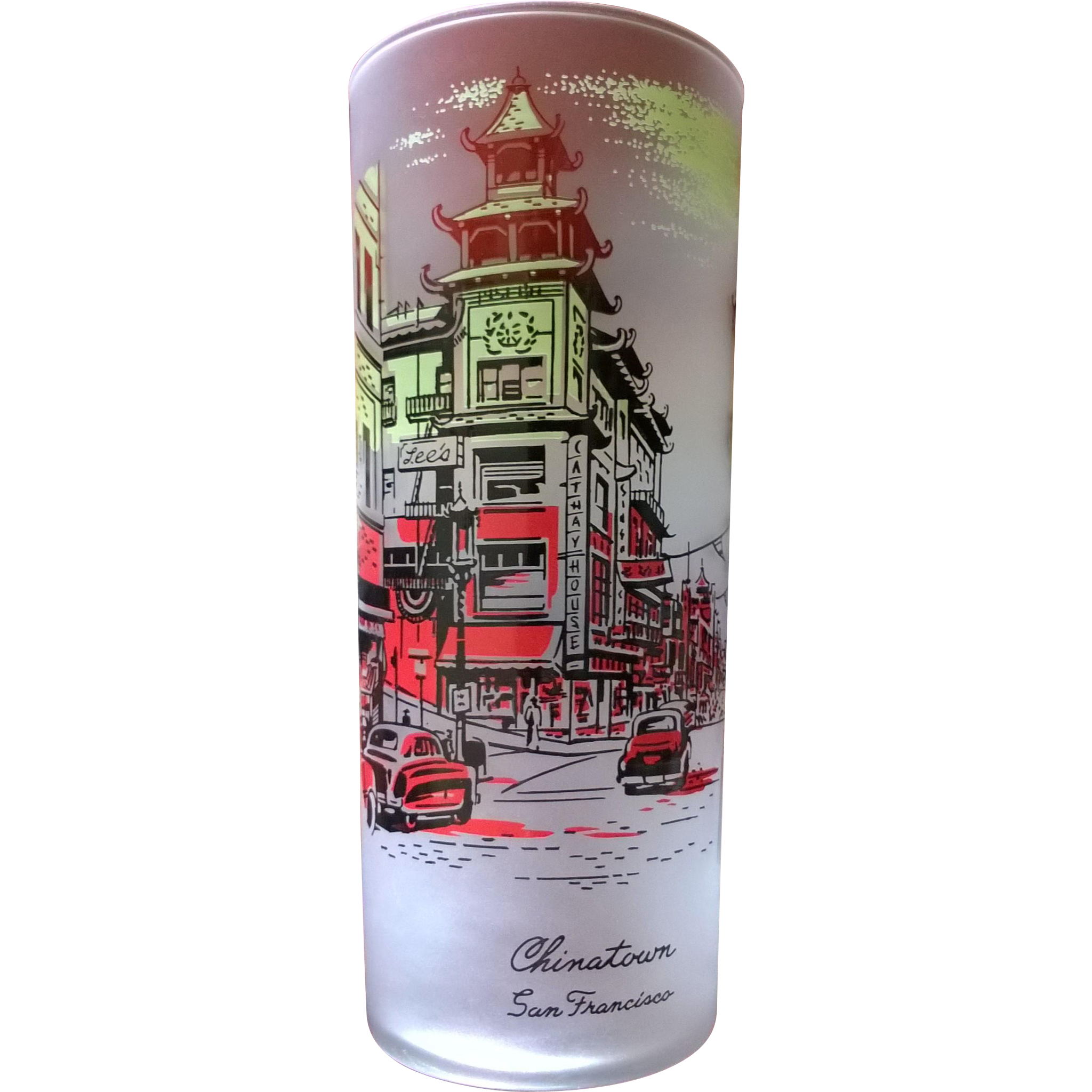 Libbey Souvenir Frosted Highball  Glass Chinatown 50's - 60's