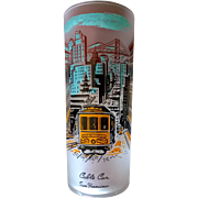 Libbey Souvenir Frosted Highball  Glass Cable Car 50's - 60's