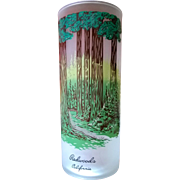 Libbey Souvenir Frosted Highball Glass Redwoods 50's - 60's