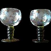 German Roemer Green Bubble Etched Stem Wine Goblet Set