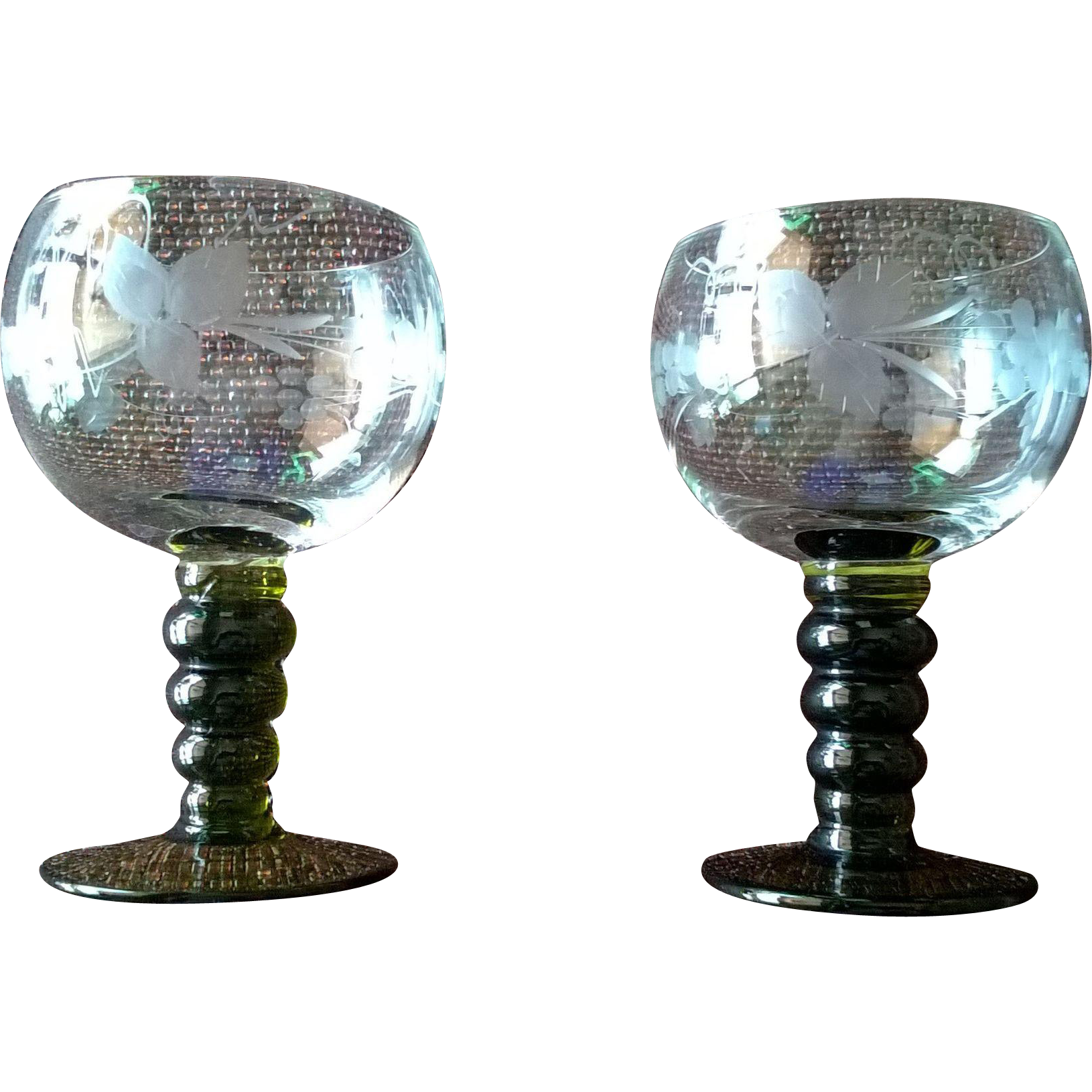 German Roemer Green Bubble Etched Stem Wine Goblet Set