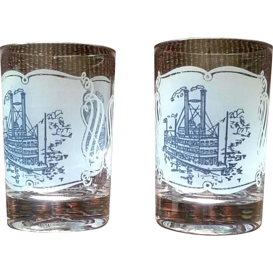 Royal China Currier & Ives Steamboat Juice Glass Set