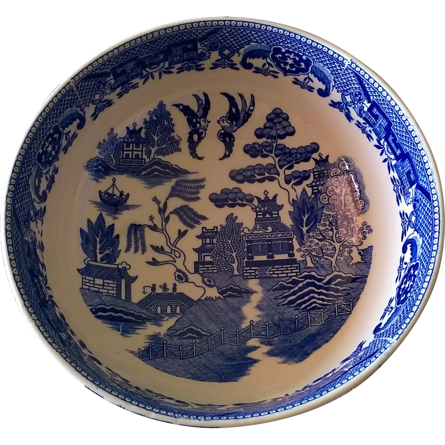 Vintage Blue Willow Vegetable Bowl