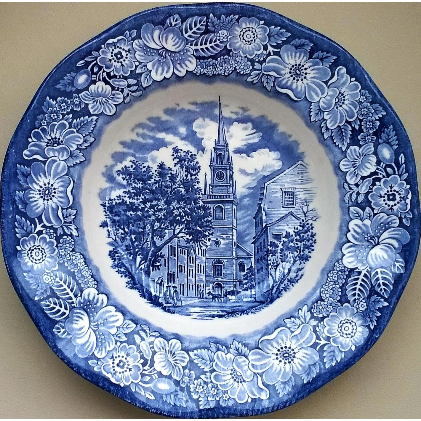 Liberty Blue Old North Church Soup Bowl Enoch Wedgwood
