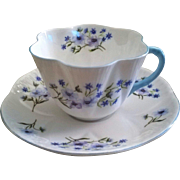 Shelley Blue Rock Cup & Saucer Dainty Shape