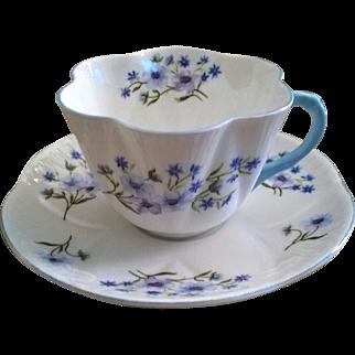 Shelley Blue Rock Cup & Saucer Dainty Shape