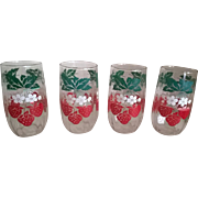 Vintage 1950's Strawberry Juice Glasses Set of 5