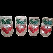Vintage 1950's Strawberry Juice Glasses Set of 5