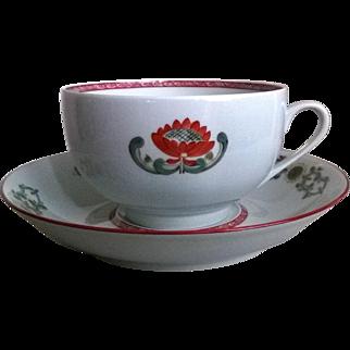 Jean Louis Coquet Limoges Provence Clivia Large Cup & Saucer Set