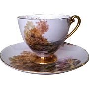 Shelley Heather Ripon Footed Teacup & Saucer