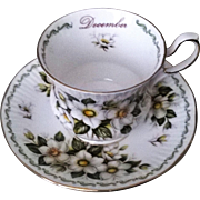 Queen's Special Flowers December Christmas Rose Teacup & Saucer