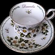 Queen's Special Flowers December Christmas Rose Teacup & Saucer