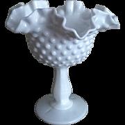 Fenton Hobnail Milk Glass Compote
