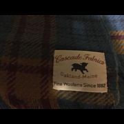 Cascade Wool Blanket Throw Blue Tartan Plaid