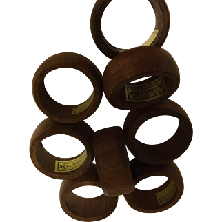 Kemp & Beatley Burma Teak Napkin Ring Set of 8