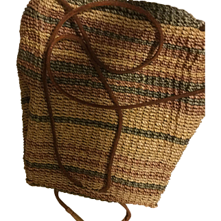 Woven Straw Basket Backpack Napsack Purse