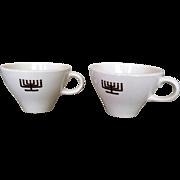 Shenango Judaica Menorah Coffee Cup Set