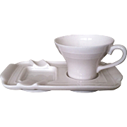 Porcelain Sip n Smoke Demitasse Cup and Ashtray Set  of 6