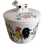 PY Ucagco Early Provincial Rooster/Cow Covered Butter Dish