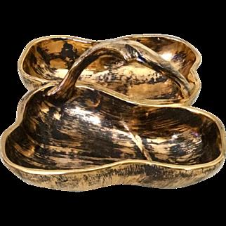 Stangl Pottery Black Gold Split Handled Serving Dish