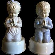 Roman Porcelain Praying Boy & Girl Music Box Set
